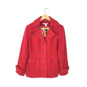 Cabi 6 red peacoat wool button front lined winter